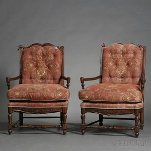 Pair of French Provincialstyle Fruitwood Upholstered Fauteuil