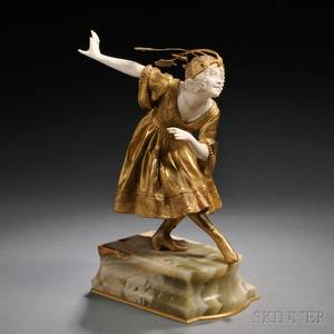 After Eduardo Rossi Italian 18671926 Giltbronze and Ivory Figure of a Woman Bowing