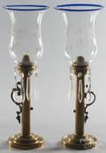 Pair of brass candleholders