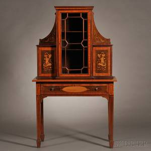 Edwardian Marquetry and Mahogany Display Cabinet