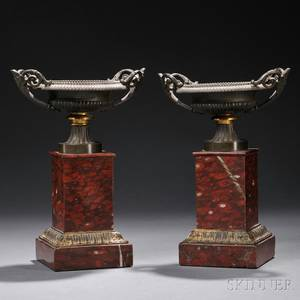 Pair of Etruscan Revival Bronze and Rouge Royal Urns