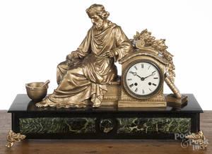 French gilt spelter mantel clock