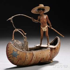 Franz Bergman Coldpainted Bronze Figure of a Boy in a Canoe
