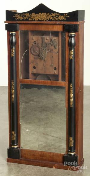 Austin Chittenden stenciled column and splat mantel clock