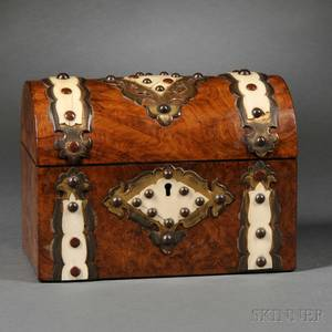 Burlwood Ivory and Brass Tea Caddy