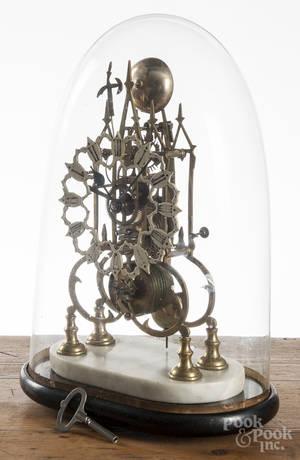 English gothic style skeleton clock