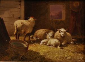 Jacob van Dieghem Dutch 19th Century Two Oil Paintings Sheep at Rest in a Barn