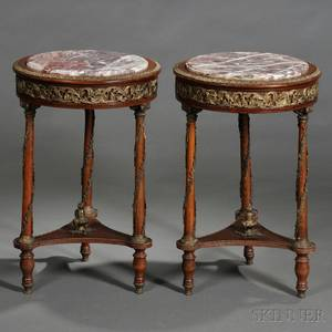 Pair of Neoclassicalstyle Marbletop and Brassmounted Occasional Tables