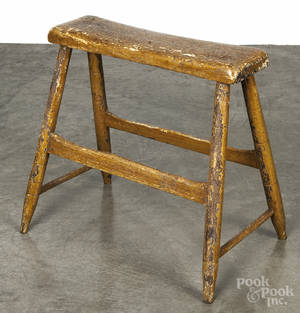 New England painted primitive work stool
