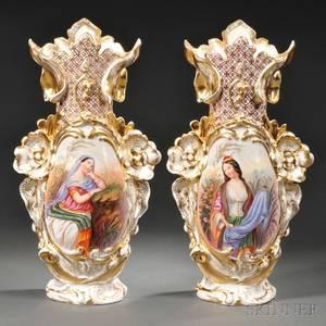 Pair of Limoges Porcelain Handpainted Vases