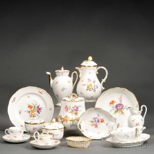Assembled Meissen Porcelain Floraldecorated Luncheon Service