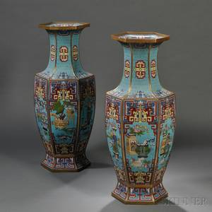 Pair of Chinese Cloisonne Palace Vases
