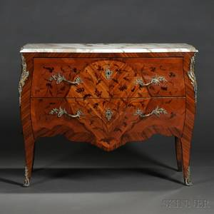 Louis XVstyle Marquetry Marbletop Commode