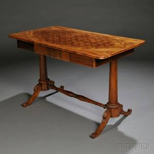 Parquetry and Olivewood and Rosewoodveneered Writing Table