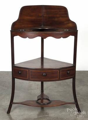 Regency mahogany corner wash stand
