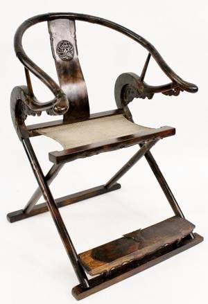 Chinese Hardwood Horseshoe Back Armchair