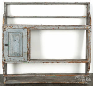 Continental painted pine hanging pewter shelf