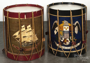 Pair of contemporary painted drum end stands