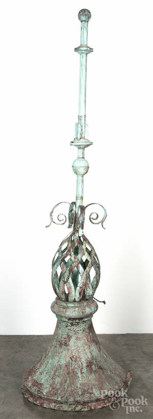 Large copper architectural finial