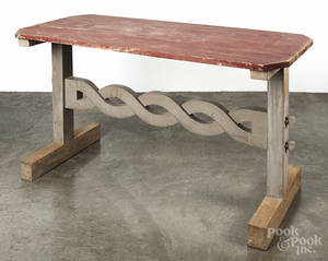 Painted pine trestle base table