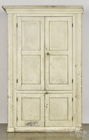 Large Pennsylvania painted pine wall cupboard