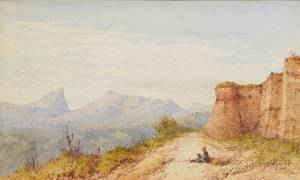 Gabriel Carelli Italian 18211900 The Rock of San Marino from the Old Fortress at Urbino