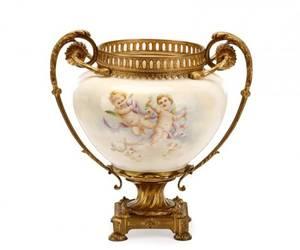 French Gilt Bronze Mounted Porcelain Cache Pot