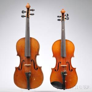 Two German Violins One Threequarter Size One Fiveeighth Size c 1920