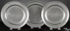 Three Connecticut pewter plates 18th19th c