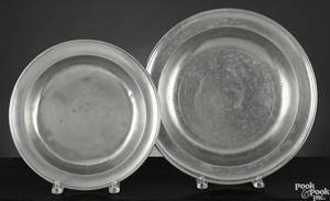 Two American pewter deep dishes early 19th c