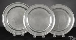Three Rhode Island pewter plates 18th19th c