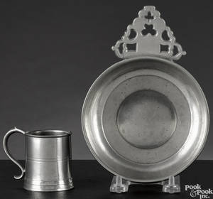 American or English pewter porringer late 18th c
