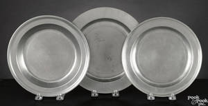 Three pewter plates late 18th c