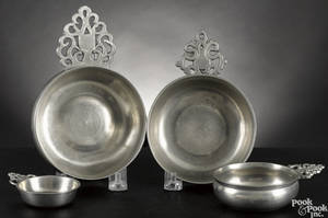 Four New England pewter porringers earlymid 19th c