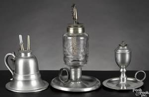 Three Massachusetts pewter fluid lamps mid 19th c