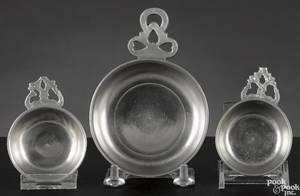 Three Springfield Vermont pewter porringers ca 1805