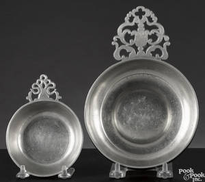 Two Hartford Connecticut pewter porringers ca 1830