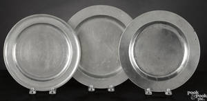 Three Massachusetts pewter plates 18th c