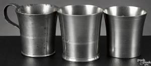 Three American pewter beakers earlymid 19th c