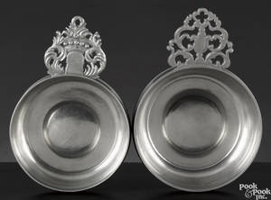 Two Hartford Connecticut pewter porringers ca 1835