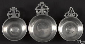 Three Springfield Vermont pewter porringers or tasters ca 1805