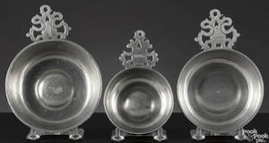 Three Hartford Connecticut pewter porringers ca 1835
