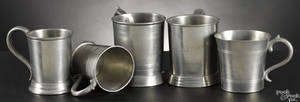 Five New England pewter mugs earlymid 19th c