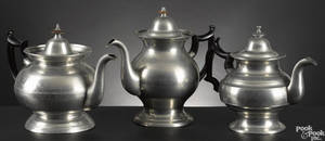 Three American pewter teapots earlymid 19th c