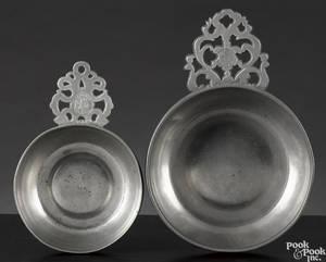 Two Providence Rhode Island pewter porringers ca 1780