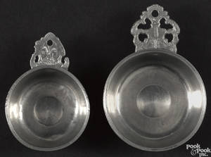 Two Springfield Vermont pewter porringers or tasters ca 1805