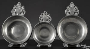 Three New England pewter porringers ca 1800