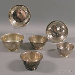 Six Assorted Small Sterling Silver Bowls