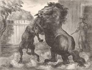 John Steuart Curry American 18971946 Stallion and Jack Fighting