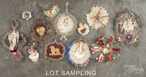 Victorian tinsel and die cut Christmas ornaments